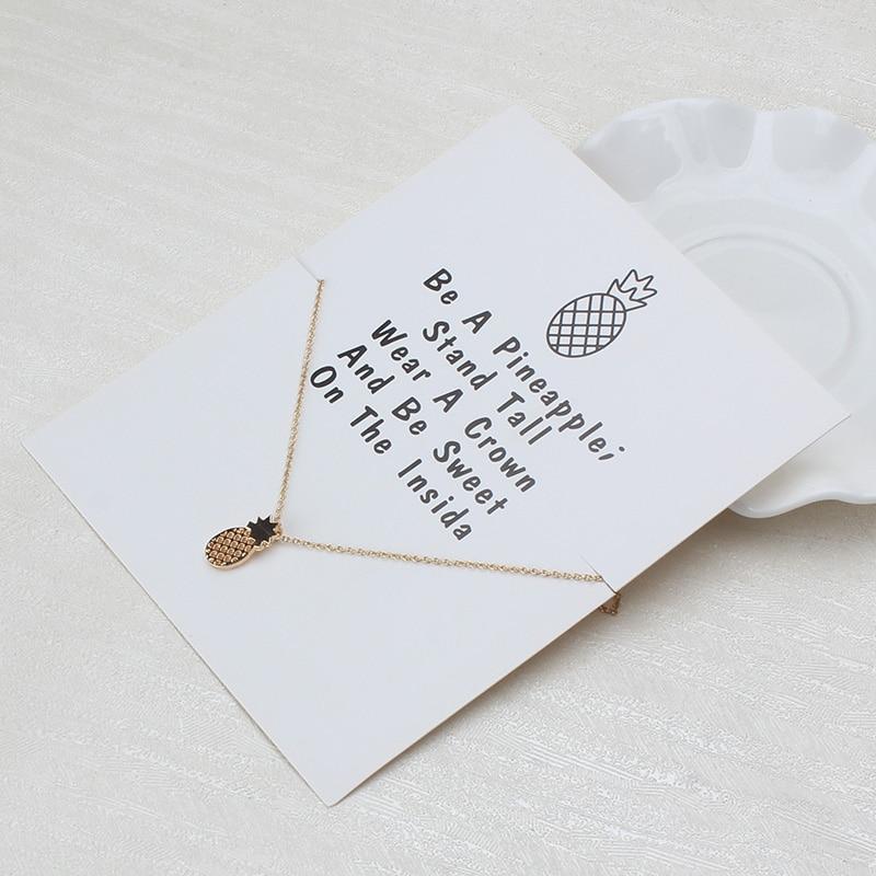1 Pc Minimalistischen Ananas Charms Wünschen Karte Halsreif Collier Halsketten Links Ketten Gold Platte Für Frauen Erklärung Schmuck Geschenk HüBsch Und Bunt