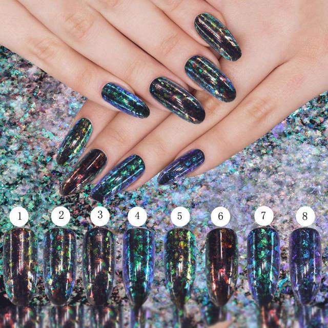 0 2g/Box Magical Starry Sky Mirror Glitter Effects Chameleon Brocade Cloud  Powder Pigment Laser Sequins Nail Art Decorations