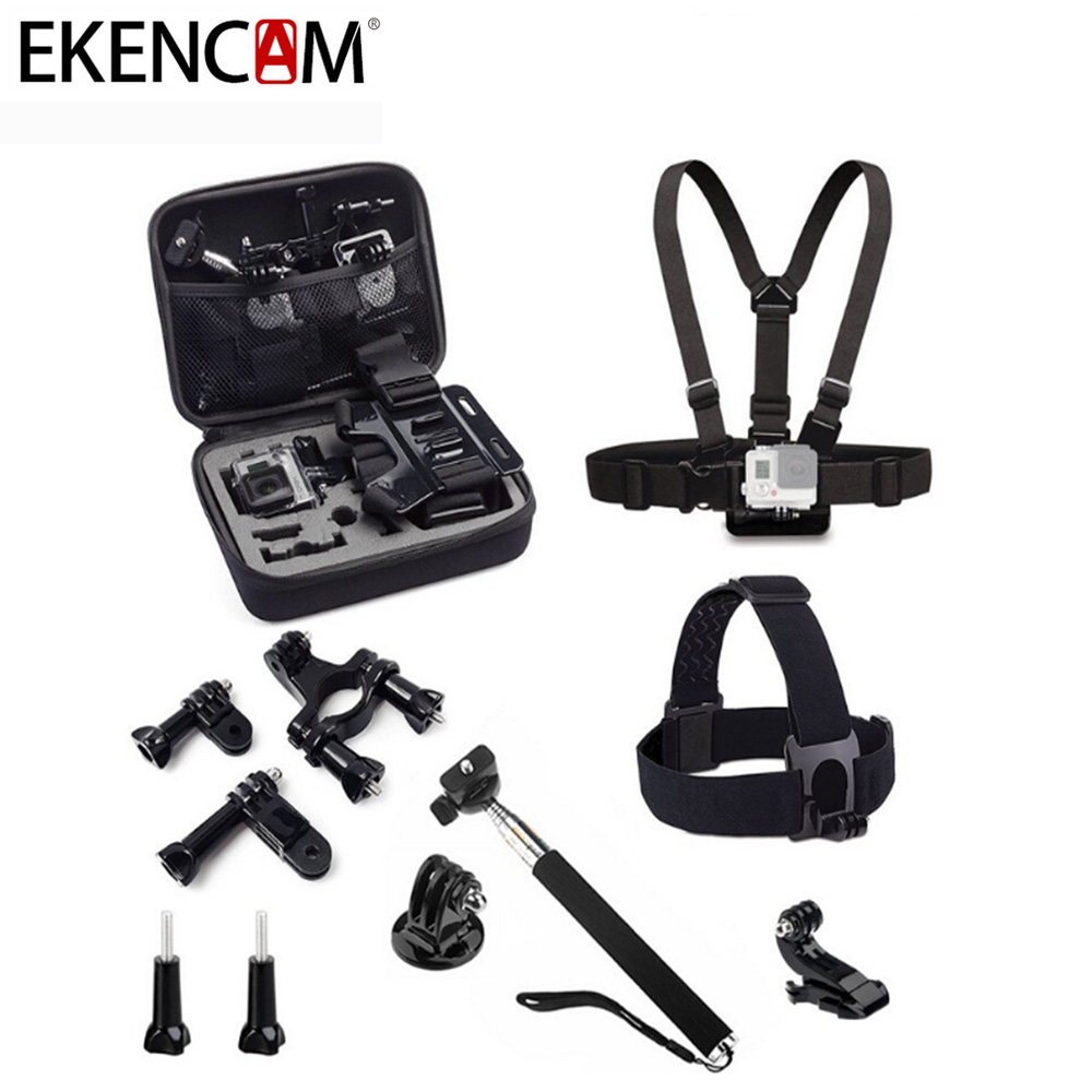 EKENCAM Action Camera Accessories 9 in 1 Set Kits Camera Storage Bag Head Strap Compatible for All Sports Camera Series
