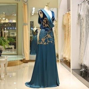 Image 3 - Женское винтажное вечернее платье, зеленое элегантное платье из велюра с v образным вырезом, бисером и атласным низом, а силуэта, горячая распродажа, 2019