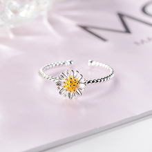 SUKI Silver Daisy Flower Rings For Women Simple Fashion Gold Chrysanthemum Fresh Boho Mother Jewelry Open Ring Bague Femme