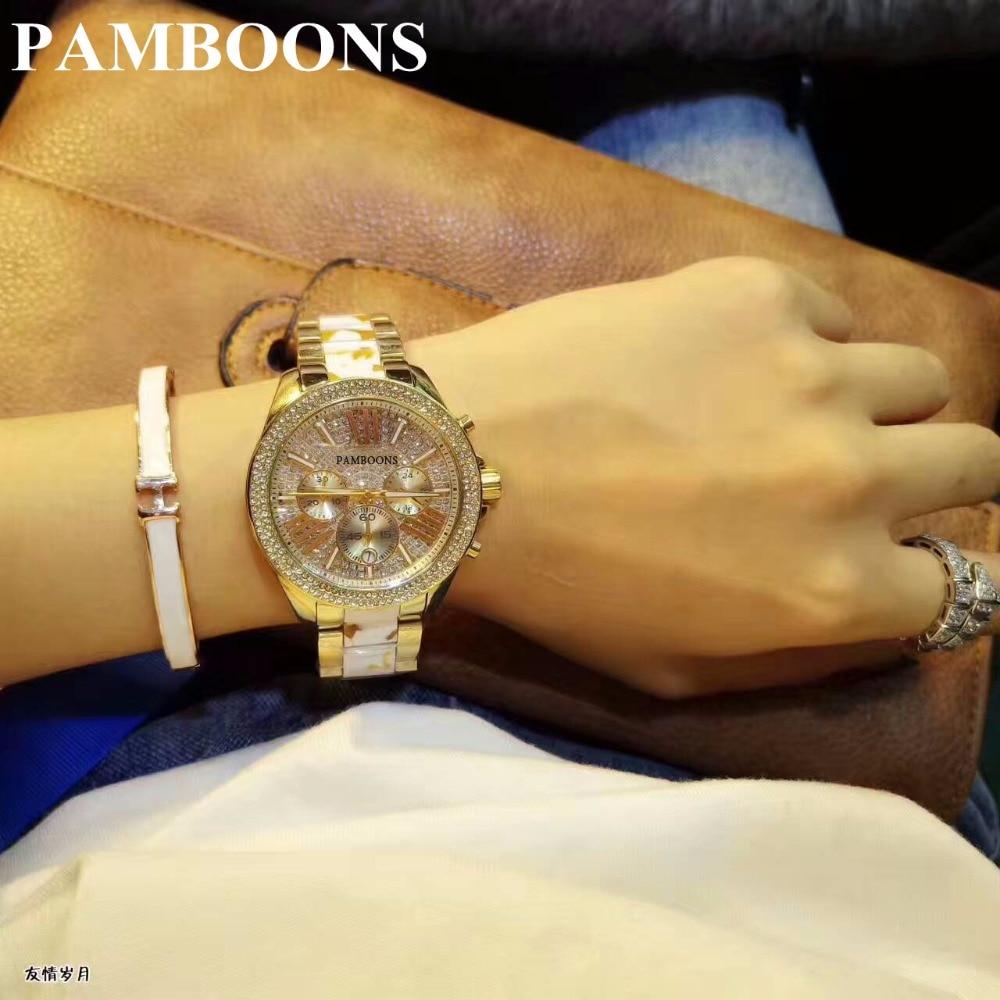 68413b009f9 2017 Nova Alta Qualidade de Cristal de Luxo Diamante Relógios Das Mulheres  de Ouro Tira de Aço do Relógio de Ouro Rosa Cintilante Vestido de relógio de  ...