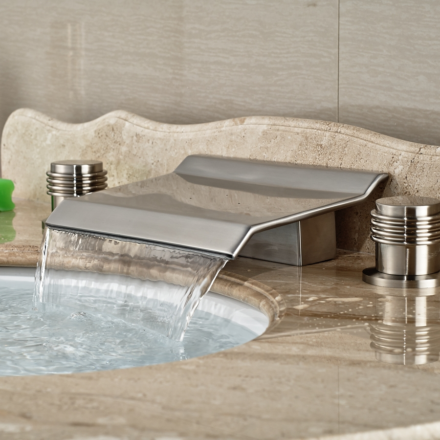 Wholesale And Retail Brand NEW Widespread Brushed Nickel Waterfall Bathroom Faucet Double Handles Mixer Tap