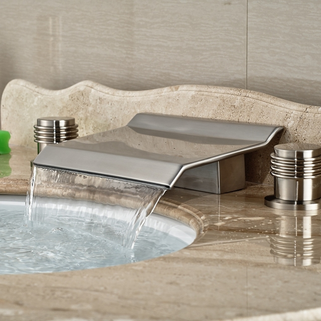 Wholesale And Retail Brand New Widespread Brushed Nickel Waterfall