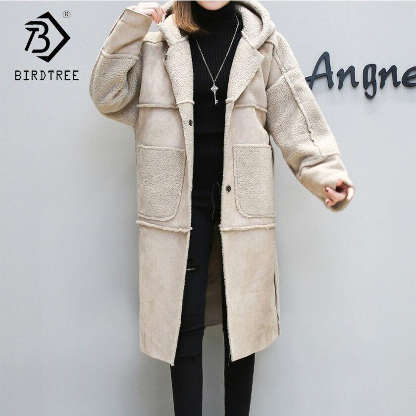 2018 Новое поступление модные дамы овчины парки одноцветное пальто Для женщин тонкий отложной воротник теплые Свободные пиджаки Hots C88509LD