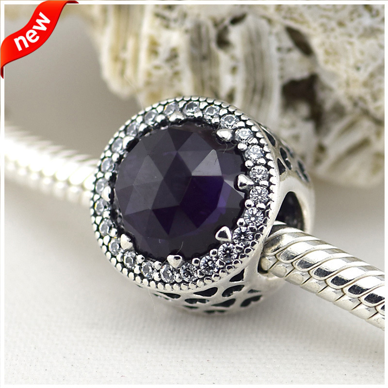 Fits Pandora Charms Bracelets 952 Sterling Silver Jewelry Radiant Hearts Charms Purple Crystal Clear CZ Beads Jewelry Making