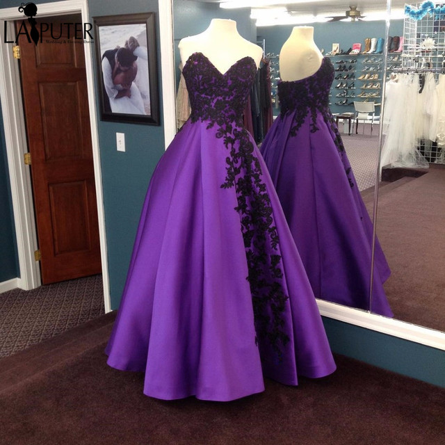 Real Vintage Purple Prom Dresses with Black Lace Applique Satin Ball ...