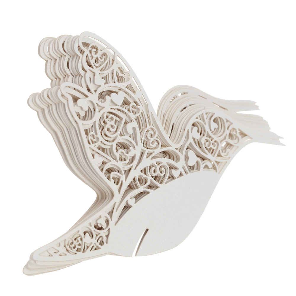 50 PCS Delicate Bird Carved Laser Cut Wine Glass Card Creative Weding Decoration Wishing Cards for Wedding Birthday Part Favor