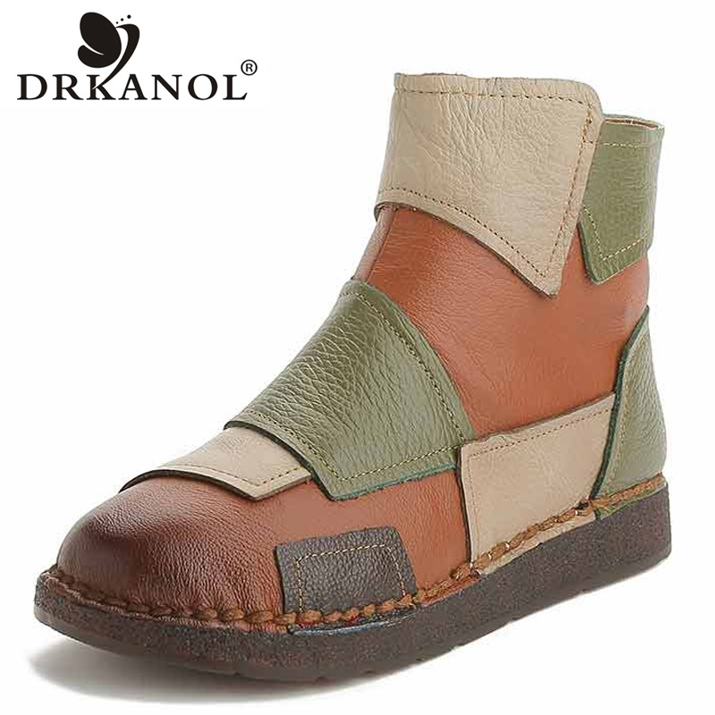 DRKANOL 2019 Autumn Winter Real Genuine Leather Women Boots Retro Handmade Mixed Colors Warm Ankle Boots Women Flat Casual Shoes-in Ankle Boots from Shoes