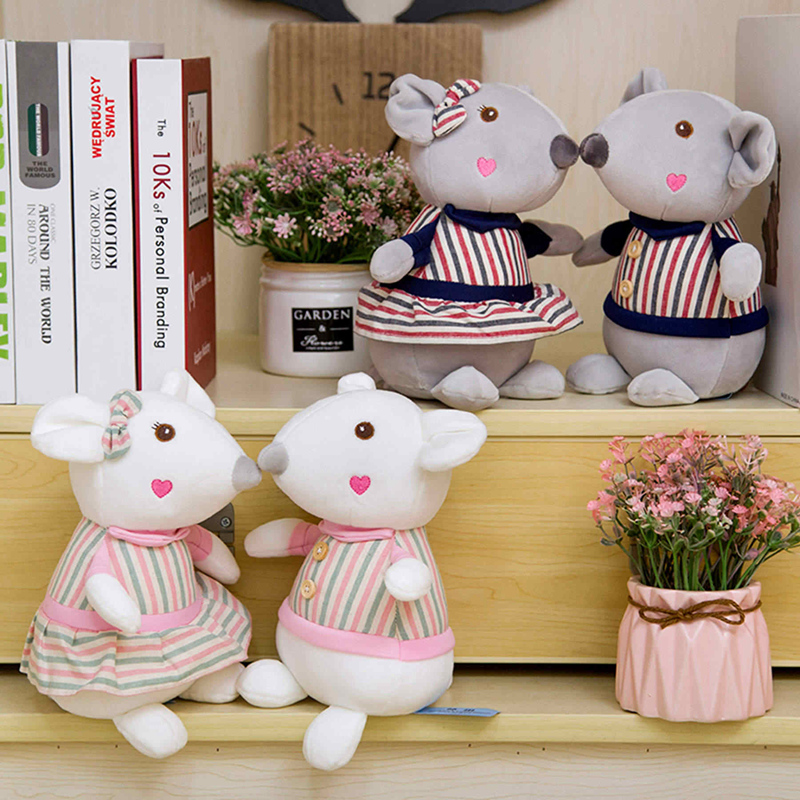 25cm Cute Couple Mouse Plush Toy Stuffed Soft Animal Hamster Doll Kawaii Birthday Gift For Children Lovely Valentine's Day Gift