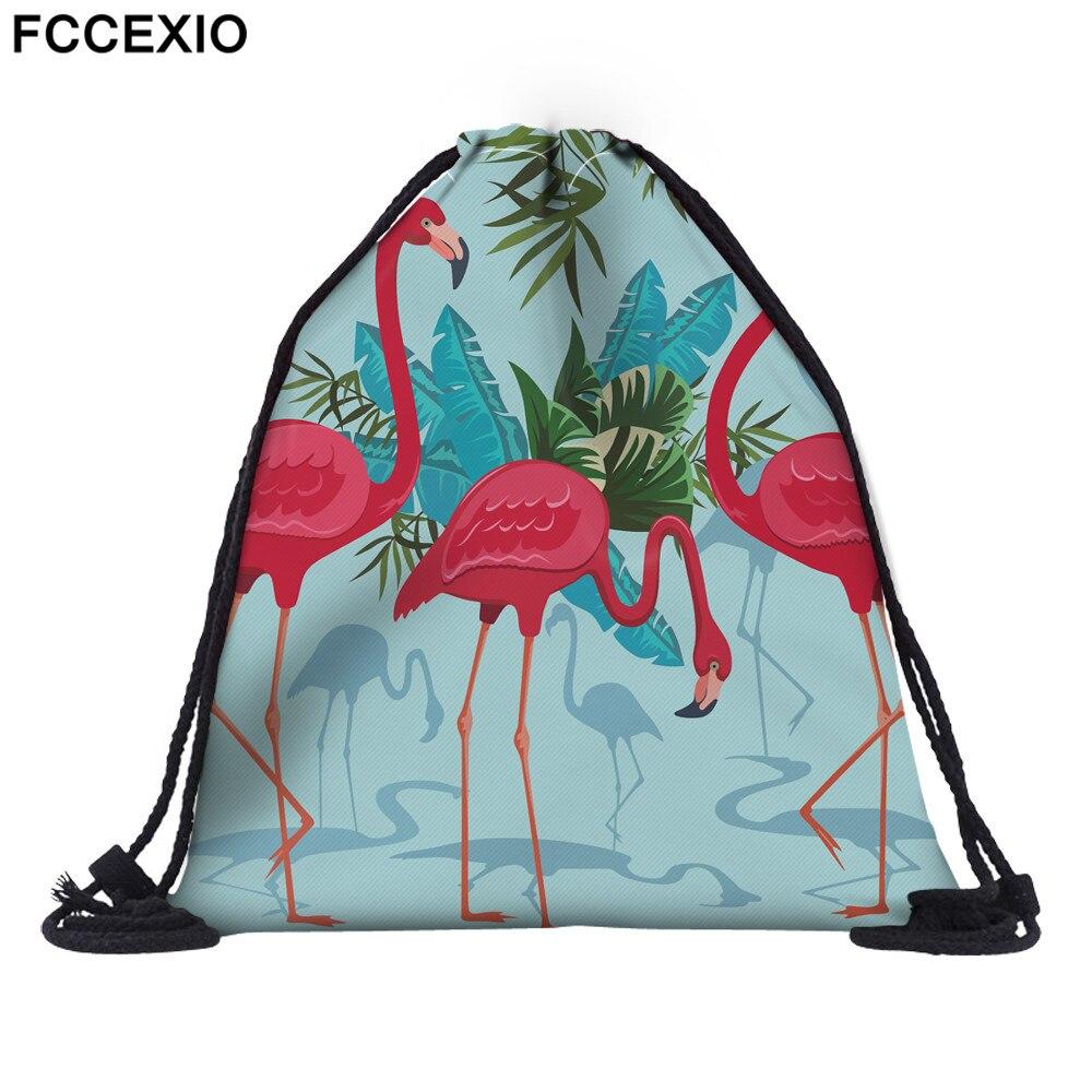 FCCEXIO 18 Colors New Fashion Pink Flamingo Backpack 3D Print Travel Soft Back Drawstring Bag School Feminina Girls Backpacks 03