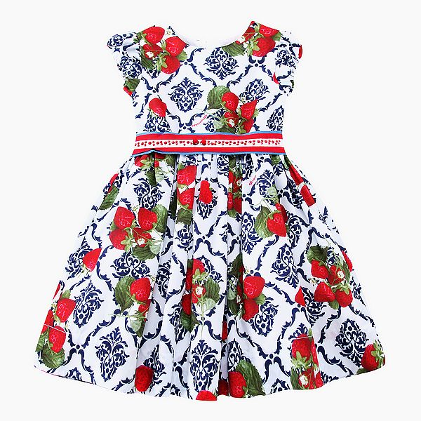 Girls Cotton Dress with Sashes 2017 Brand Summer Dress Princess Costumes Strawberries Print Robe Fille Kids Clothes