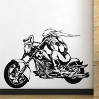 Free Shipping Wall stickers Home decor SIze:560mm*800mm PVC Vinyl paster Removable Art Mural Demon motorcycle Knight M-139