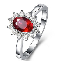 18K White Gold Plated Women Red Rose Precious Colored Gemstones Diamond Ruby Ring