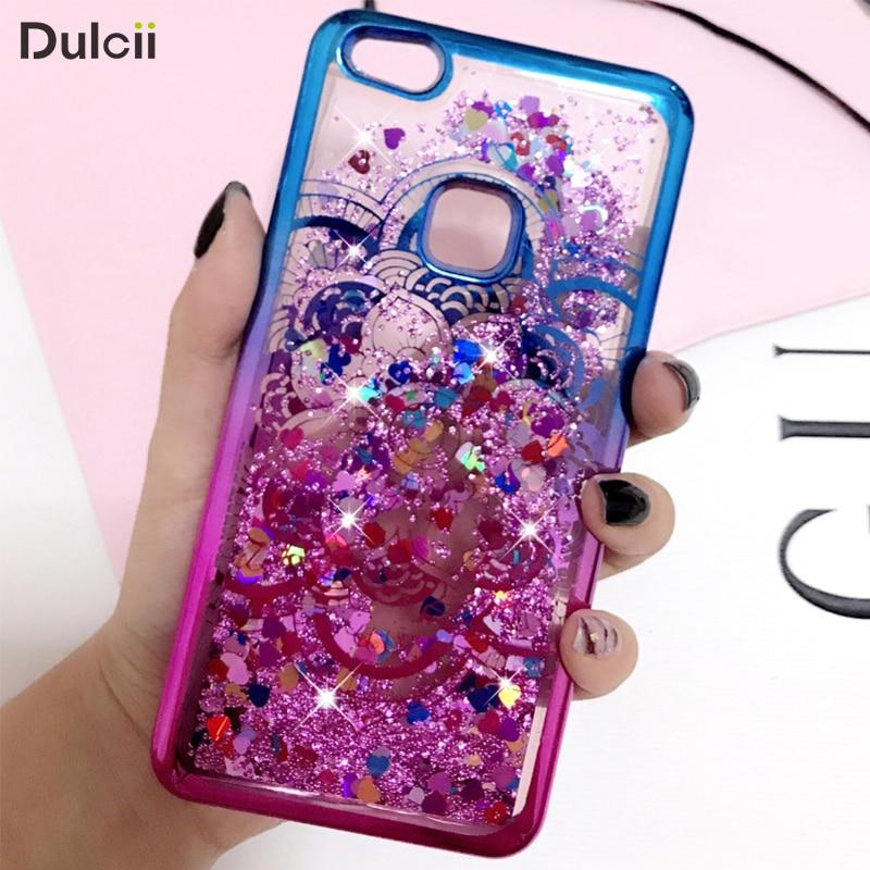 DULCII for Huawei P10 Lite Case Electroplating Edges Liquid Glitter Powder Quicksand TPU Soft Coque for Huawei P10 Lite Flower