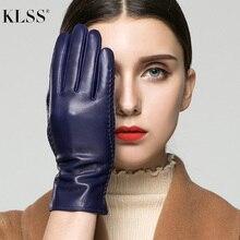 → KLSS Марка Натуральная Кожа Сенсорный Экран Женские Перчатки Зима Плюс Бархатная Мода Элегантный