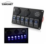 6 Gang LED Car Boat Rocker Switch Panel 2 USB Socket Cigaretter Plug Voltmeter