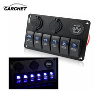 6 Gang LED Car Boat Rocker Switch Panel 2 USB Socket Cigaretter Plug Voltmeter