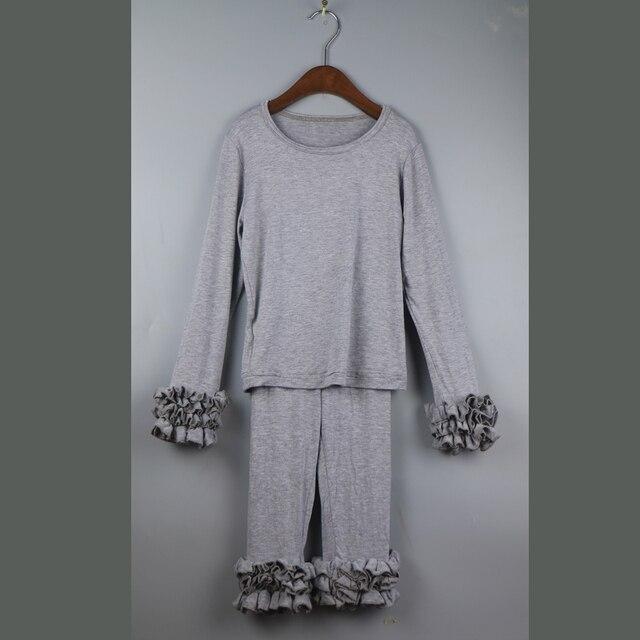 Серый девушки футболка и брюки набор хлопок туника твердые рубашки устанавливает девушка наряды новый шаблон