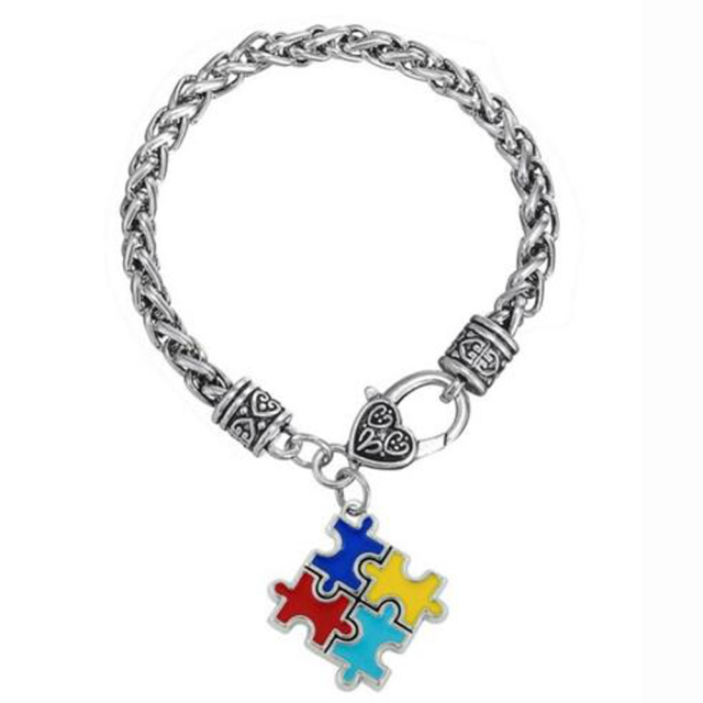 bangles awareness autistic bracelets lobster claw fashion bracelet puzzle enamel item autism charm alloy zinc piece