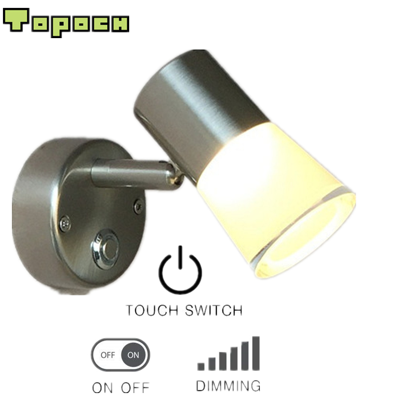 TopocH Caravan Interior Lights Nickel Finish Touch Dimmer Aluminum+PMMA Housing Thin Base CREE LED 3W 200LM Comfortable Light topoch minimalist gooseneck reading lamp for bed polished chrome finish 3w led cree 200lm hose adapative ac100 240v dc12v 24v