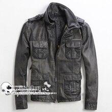 2015 New autumn Double collar Slim Retro Do the old Lambskin Multi-pocket Men's leather jackets