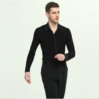 Long Sleeve Mens Latin Shirts Dance Top Ballroom Dancewear Latin Dance Costumes Stage Clothing for Men Ballroom Clothes B 6965