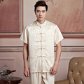 New Beige Chinese Men's Satin Wu Shu Shirt Vintage Kung Fu Tai Chi Tops Single Breasted Clothing S,M,L,XL,XXL,XXXL 2519