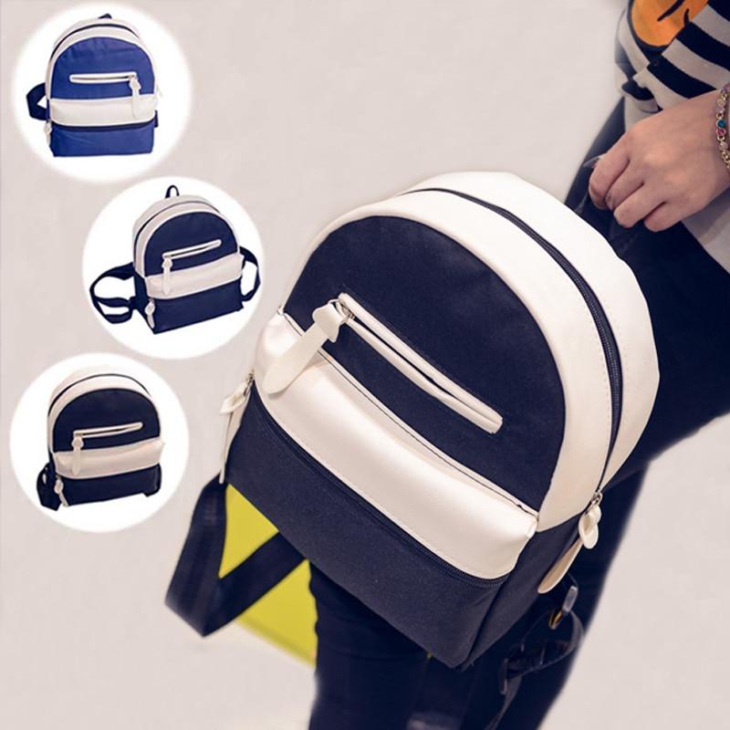 Canvas Backpacks Women School Bag Students Backpack Ladies Travel Bags Package 3 Colors WML99