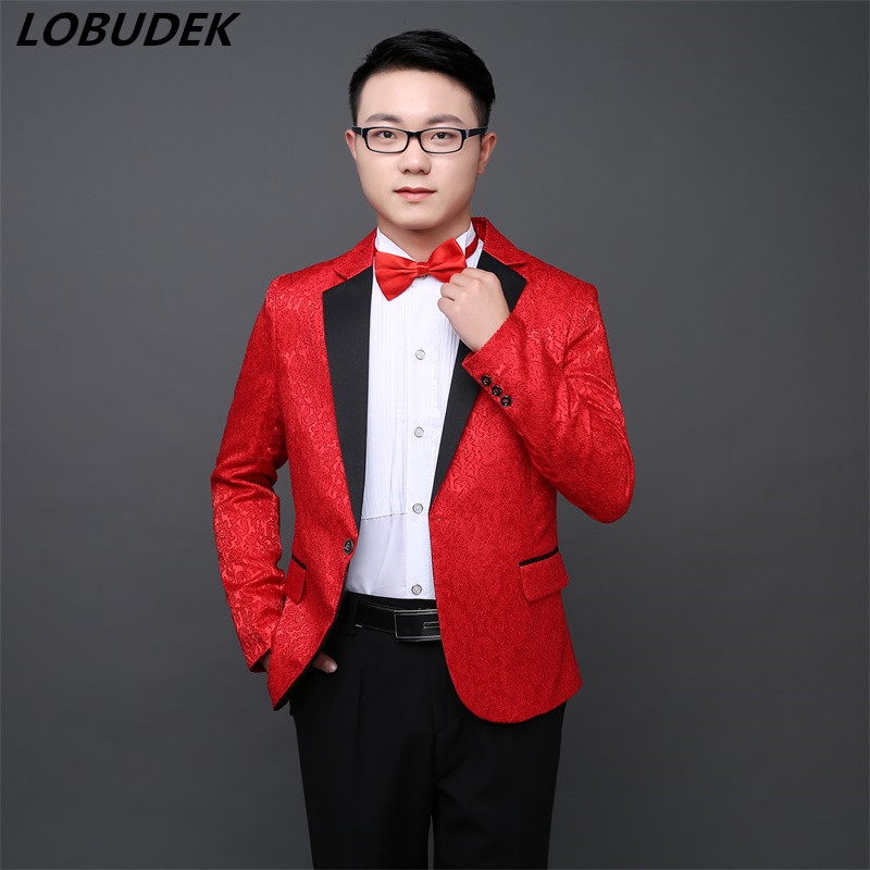 New Korean style Mens Formal Banquet Suits Wedding dresses Party Nightclub Host stage performance outfit Fashion slim Blazers