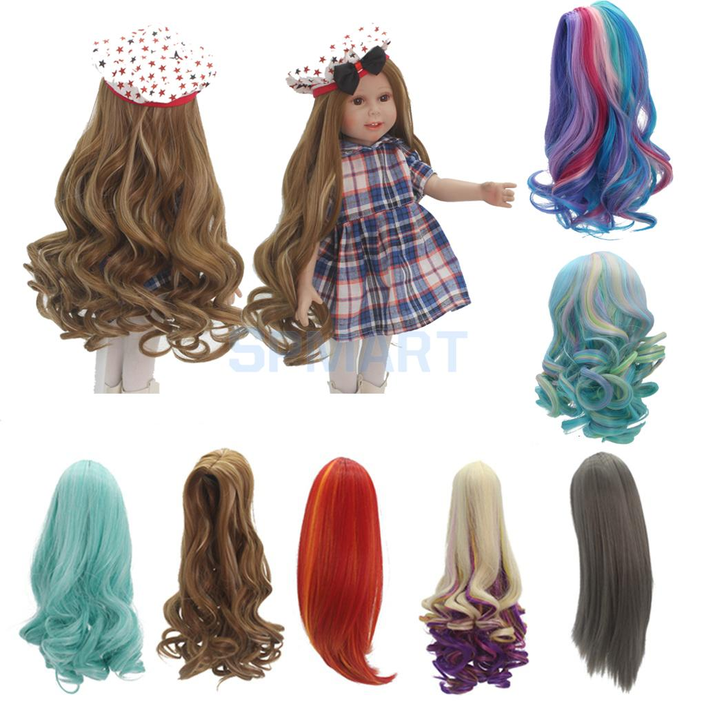 7 Options Fashion Curly/Straight Long Hair Replacement Wig for 18 American Girl Dolls DI ...