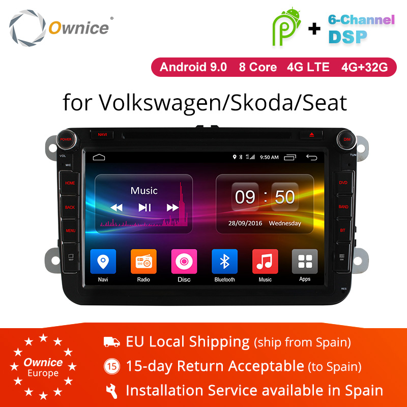 Ownice 2 Din K1 K2 Android 9,0 Octa Core reproductor de DVD del coche para Volkswagen Passat POLO GOLF Skoda asiento 4G LTE Nerwork 32 GB ROM
