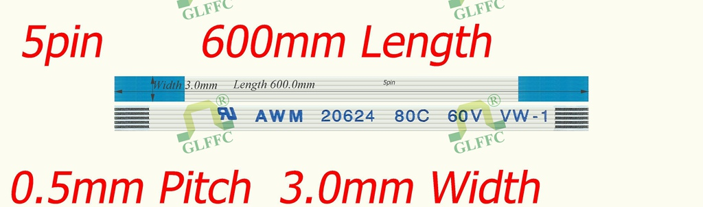 5pin-600mm-GLFFC-0.5mm-A Тип квартира Flex ленточный кабель awm vw-1 ROHS Настройка доступна
