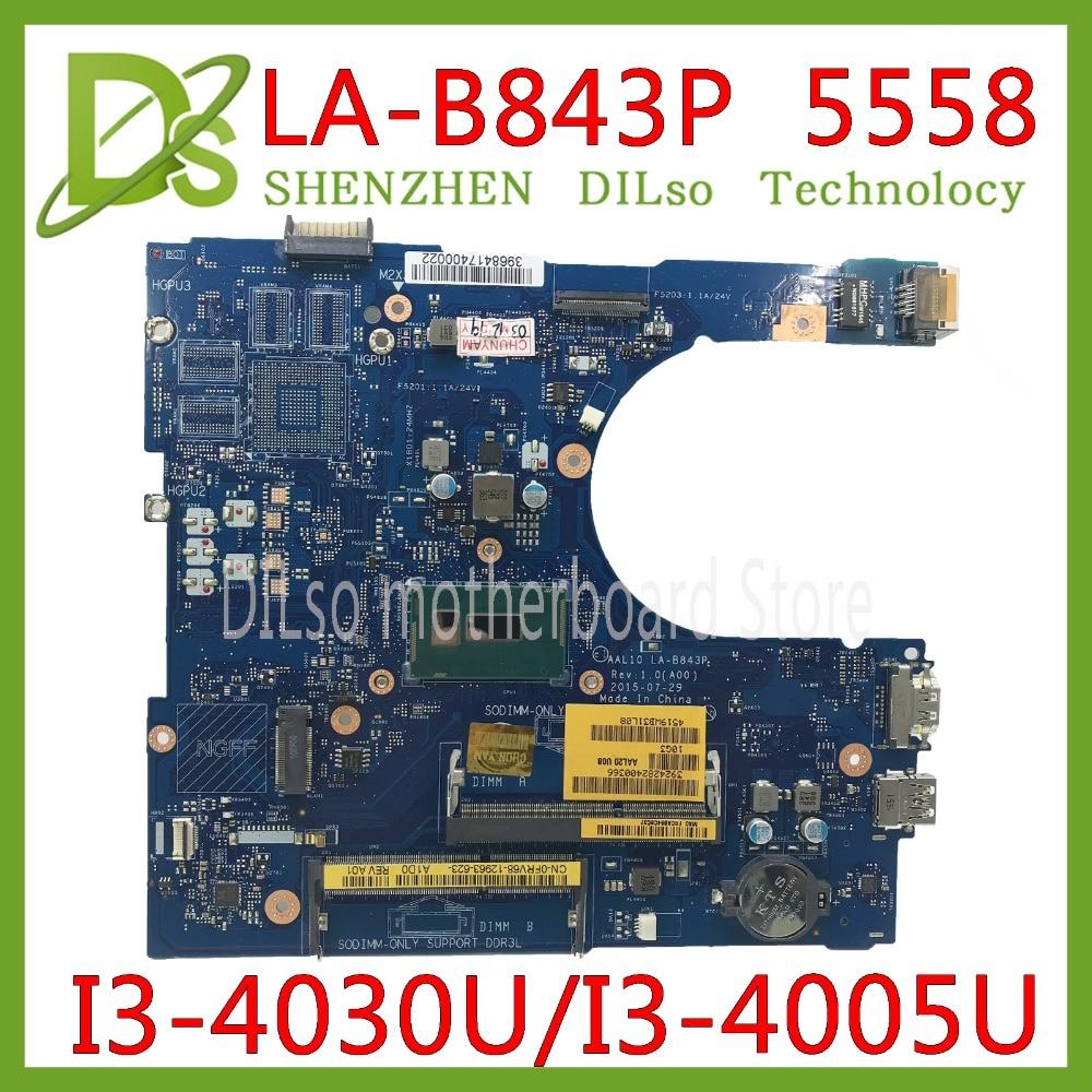 KEFU  LA-B843P CN-0FRV68 For DELL FRV68 5458 5558 5758 Laptop Motherboard I3-4030U/I3-4005U GM LA-B843P REV:1.0 Work 100%