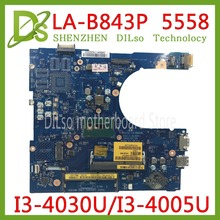 KEFU  LA-B843P CN-0FRV68 For DELL FRV68 5458 5558 5758 Laptop Motherboard I3-4030U/I3-4005U GM LA-B843P REV:1.0 work 100% цена и фото