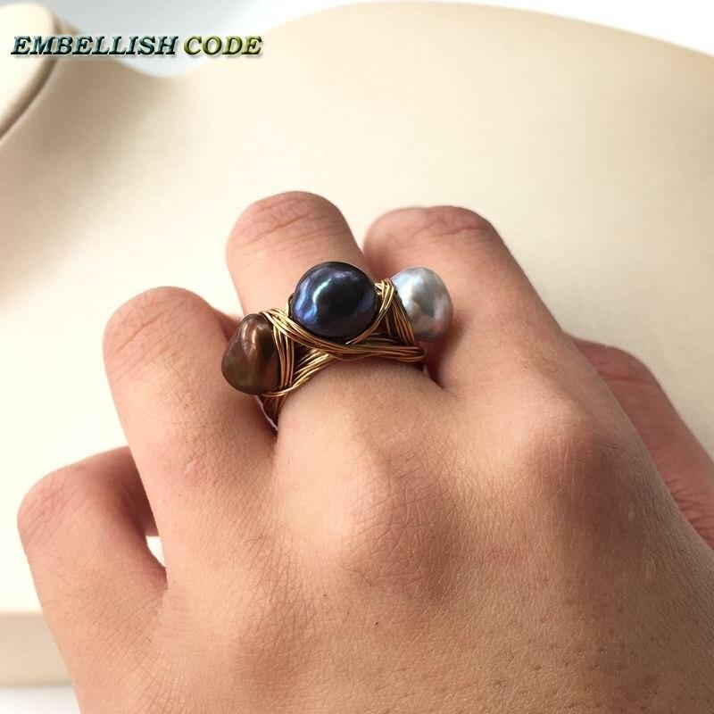 Nouveau design nid d'oiseau style petite taille baroque perles gris paon marron café couleur avec fil d'or main faire anneau - 4