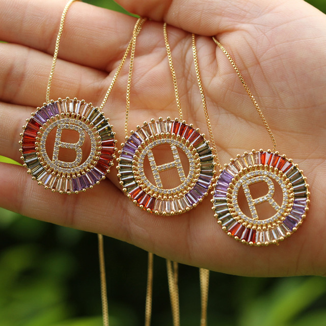 1Pcs New Trendy Gold Color Micro Pave Rainbow CZ Cubic Zirconia A-Z Initials Letter Pendant Necklaces For Women Jewelry