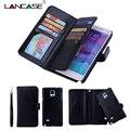 2 in1 billetera de cuero case para samsung galaxy note 4 coque cardslot extraíble case para galaxy note 4 note 5 case s5 s6 s7 borde