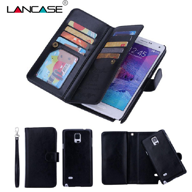 new product b9247 898f7 US $9.9 15% OFF|LANCASE For Samsung Note 4 Case Removable Wallet Leather  Cover for Samsung Galaxy S7 Edge Case S6 Edge Note 5 Couqe S8 Plus Capa-in  ...