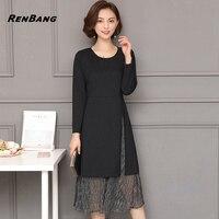 RENBANG Spring Plus Size 5XL Women Slits Patchwork Dress Casual Slim Long Sleeve Dress Lady Mesh