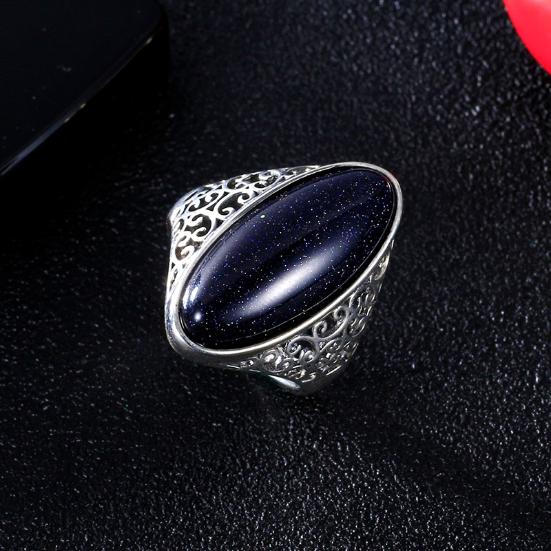 Women 39 s Ring 925 Sterling Silver Jewelry Vintage Blue Sand Hollow Elegant Ring Gift Party Wedding in Rings from Jewelry amp Accessories