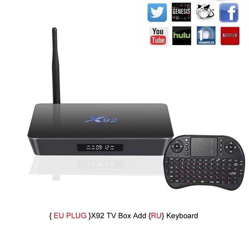 X92 TV Box Amlogic S912 octa-core Android 6.0 2.4 ghz/5.8 ghz WiFi HDMI 2.0 avec USB 2.0 AV LAN SD Fente Pour Carte 2g RAM 16g ROM