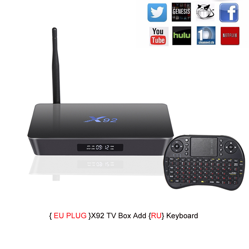 X92 TV Box Amlogic S912 Octa-core Android 6.0 2.4GHz/5.8GHz WiFi HDMI 2.0 with USB 2.0 AV LAN SD Card Slot 2G RAM 16G ROM amlogic s912 octa core android 6 0 tv box 2g 16g 2 4g 5ghz wifi gigabit lan google play set top box