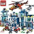 Serie de la ciudad estación de policía móvil helicóptero pistolas pistola de aire enlighten modelo bloques de construcción de ladrillos diy juguetes para niños de regalos