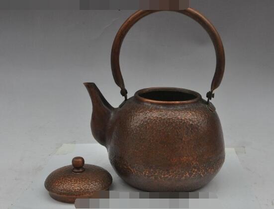 S01985 9 oude chinese pure bronzen koperen Hand gesneden Waterkoker Theepot Thee makers - 2