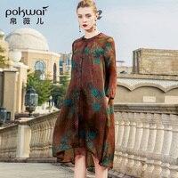POKWAI/винтажное шелковое платье для женщин; Новинка 2018 года; сезон весна; модные высококачественные платья с длинными рукавами и круглым выре