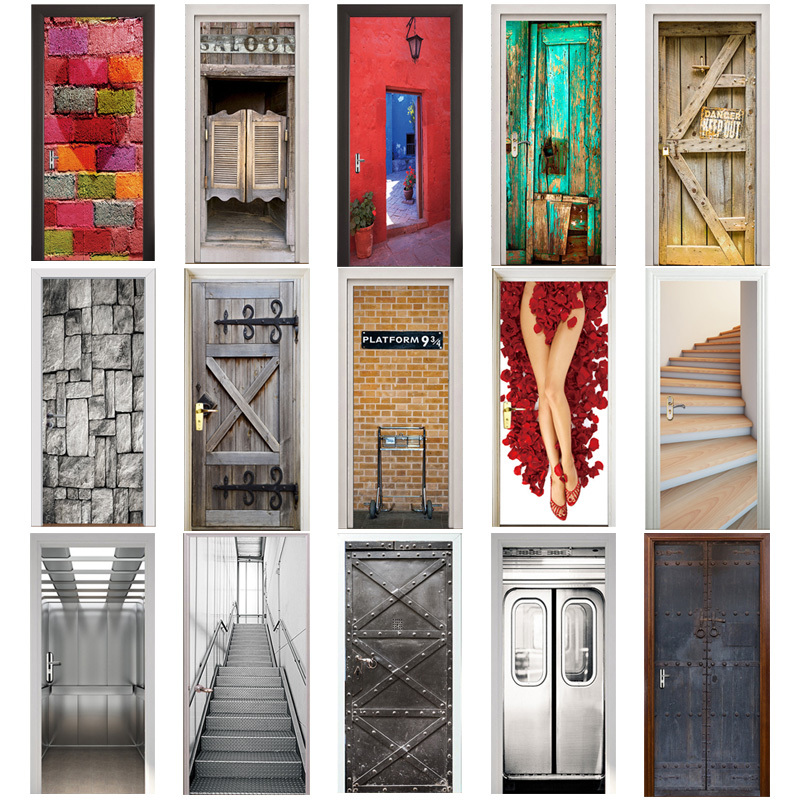 3D Door Sticker Retro Old Wooden Door Station Bar Elevator Police Hall Subway Stairs Color Bricks Pulling Door Home Decor Paste