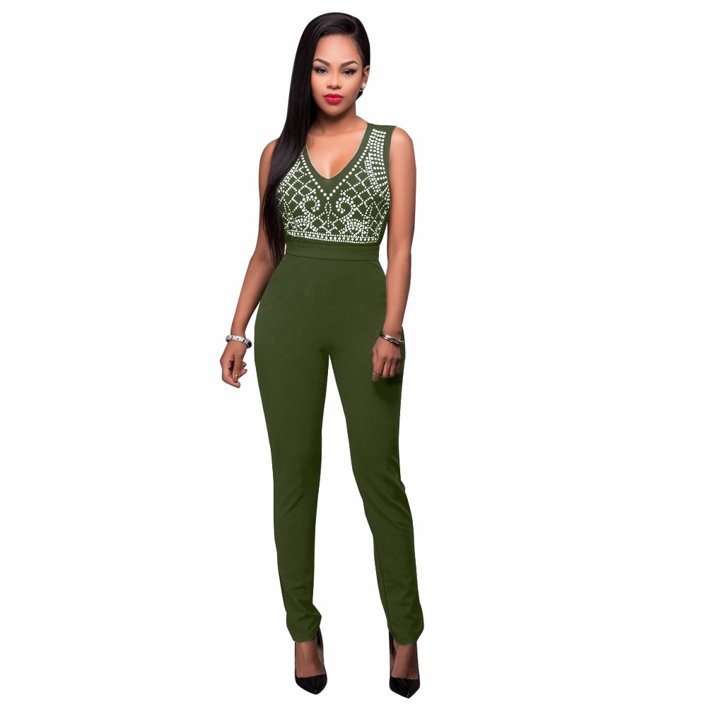 2017 New Summer Women Jumpsuit Bandage Black Bodysuit V-Neck Sleeveless Print Zipper Back Sexy Bodycon Jumpsuits And Rompers 11