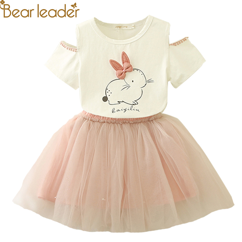 Bear Leader Girl vestido 2018 nuevo verano Casual estilo de dibujos animados gatito impreso t-shirts + el vestido neto del velo 2 piezas para Niñas Ropa 2-6Y