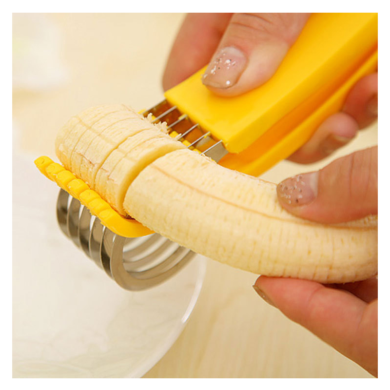 Stainless Steel Banana Slicer Fruit Cutter Cucumber Chopper Salad blade Ham sausage Slicer Home Kitchen Tools